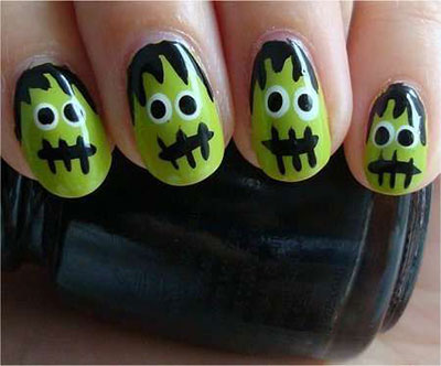 12-Frankenstein-Halloween-Nails-Art-Designs-2016-7