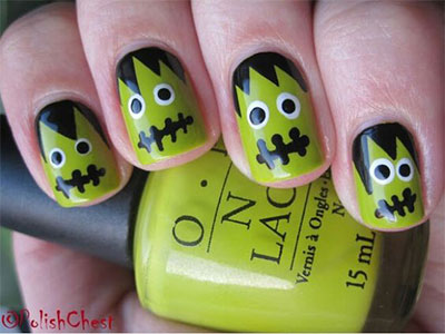 12-Frankenstein-Halloween-Nails-Art-Designs-2016-8