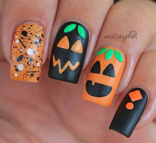 15-Halloween-Pumpkin-Nails-Art-Designs-2016-10 - 15+ Halloween Pumpkin Nails Art Designs 2016 Fabulous Nail Art Designs
