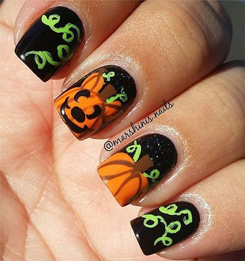 Pumpkin Nails Art