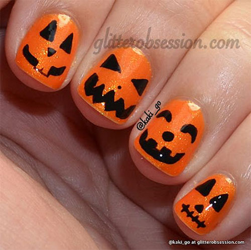 Halloween Nail Art: 15+ Halloween Pumpkin Nails Art Designs 2016