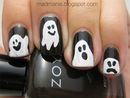 Cute Ghost Nail Art : Halloween ghost nails art designs ideas - Cute Ghost Nail Art: Suitable Halloween Nail Art Designs For