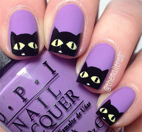 Nail Art Designs Black And Purple