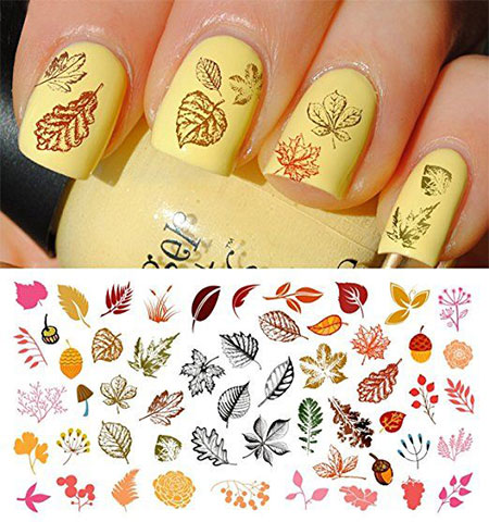 10 Autumn Nail Art Stickers Decals 2016 3