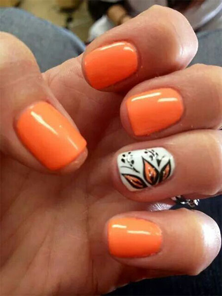 Simple Fall Wreath: 12 Easy Autumn Nail Art Designs & Ideas 2016