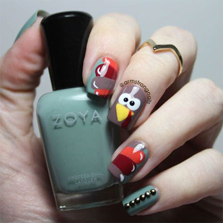 18-turkey-nail-art-designs-ideas-2016-thanksgiving- - 18 Turkey Nail Art Designs & Ideas 2016 Thanksgiving Nails