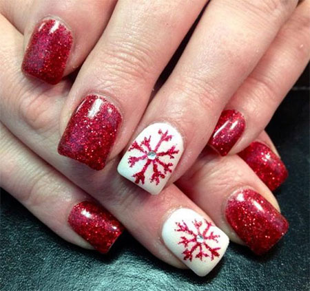 12 Red Green White Christmas Nail Art Designs