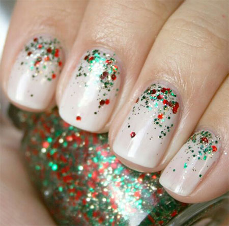 12 red green white christmas nail art designs - White Christmas Nails