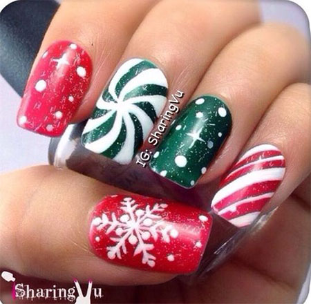 12 Red Green White Christmas Nail Art Designs Ideas 2016