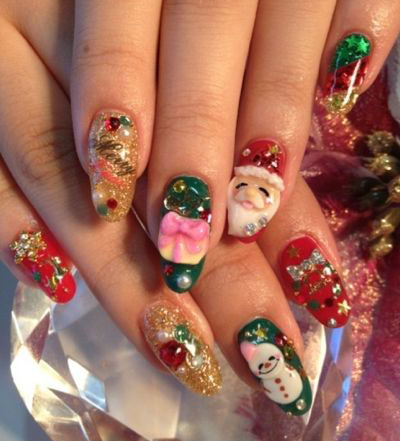 15 christmas 3d nail art designs  ideas 2016  holiday