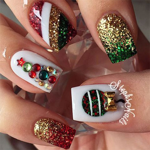 Christmas Designs For Acrylic Nails: 15+ Christmas Glitter Acrylic Nail Art Designs 2016