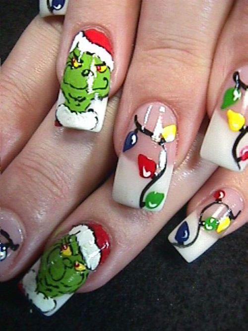 18-christmas-lights-nail-art-designs-ideas-2016- - 18 Christmas Lights Nail Art Designs & Ideas 2016 Xmas Nails