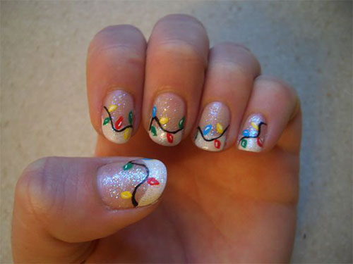 18 Christmas Lights Nail Art Designs Ideas 2016 Xmas Nails