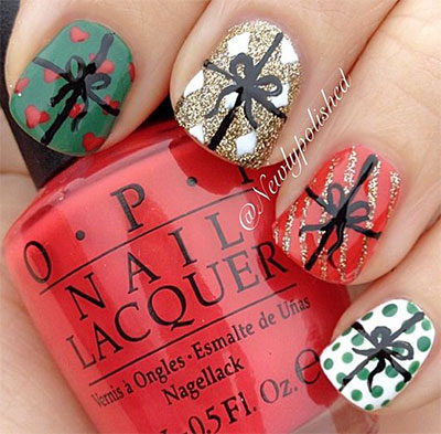 18 Christmas Present Nail Art Designs Ideas 2016