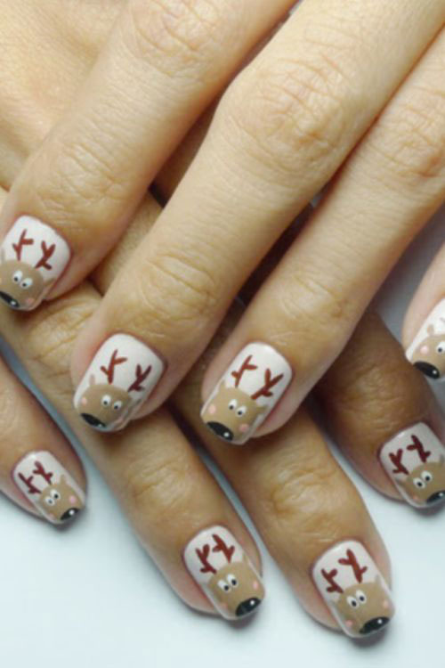 18 Christmas Reindeer Nail Art Designs & Ideas 2016 | Xmas Nails ...