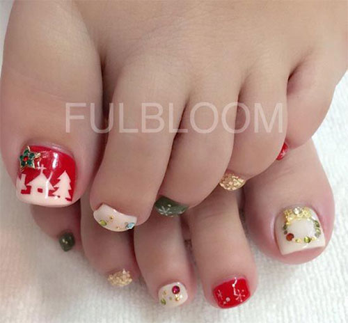 20 best merry christmas toe nail art designs 2016 holiday nails 20 best merry christmas toe nail art designs prinsesfo Images
