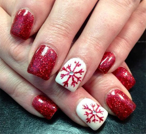 20-christmas-snowflake-nail-art-designs-ideas-2016- - 20 Christmas Snowflake Nail Art Designs & Ideas 2016 Xmas Nails