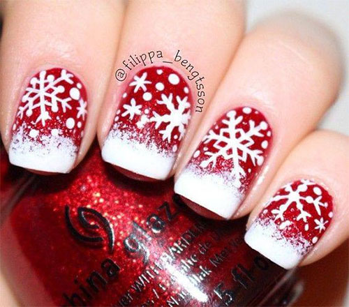 20 Christmas Snowflake Nail Art Designs Ideas 2016