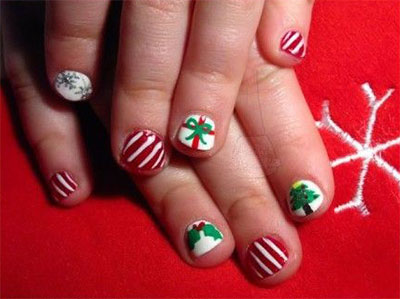 easy cute christmas nail art designs ideas for - Christmas Nail Decorations