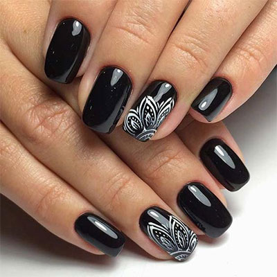 18 Awesome Winter Black Nails Art Designs Ideas 2016 2017