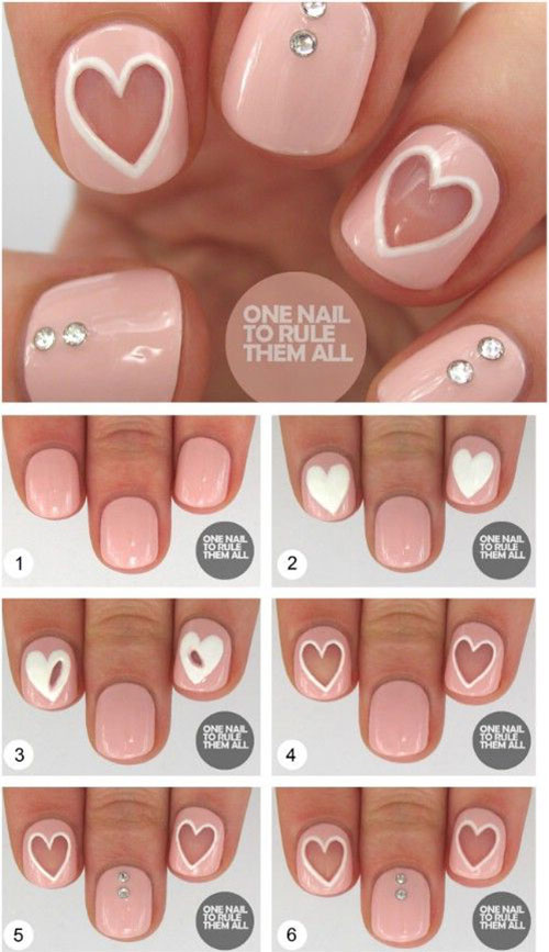 10 Step By Step Valentine\'s Day Nail Art Tutorials For Learners 2017 ...