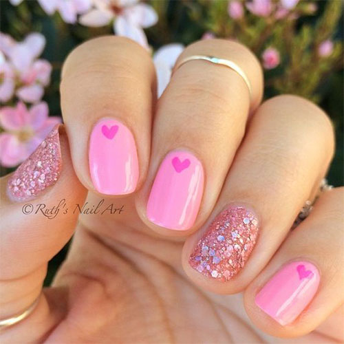 Nail Art Valentines: 15+ Pink Valentine's Day Nail Art Designs & Ideas 2017