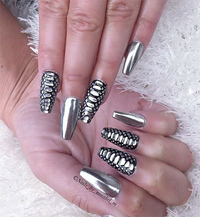 15 Amazing Silver Mirror Nail Art Designs Ideas 2017 Chrome