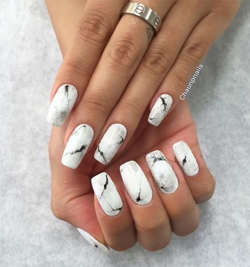 White Nail Ideas: 20+ White Marble Nails Art Designs & Ideas 2017
