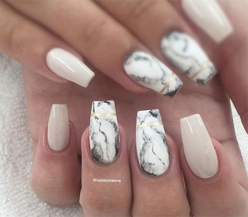 20 White Marble Nails Art Designs Ideas 2017