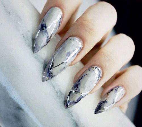 Marble Nail Art Stiletto: 20+ White Marble Nails Art Designs & Ideas 2017