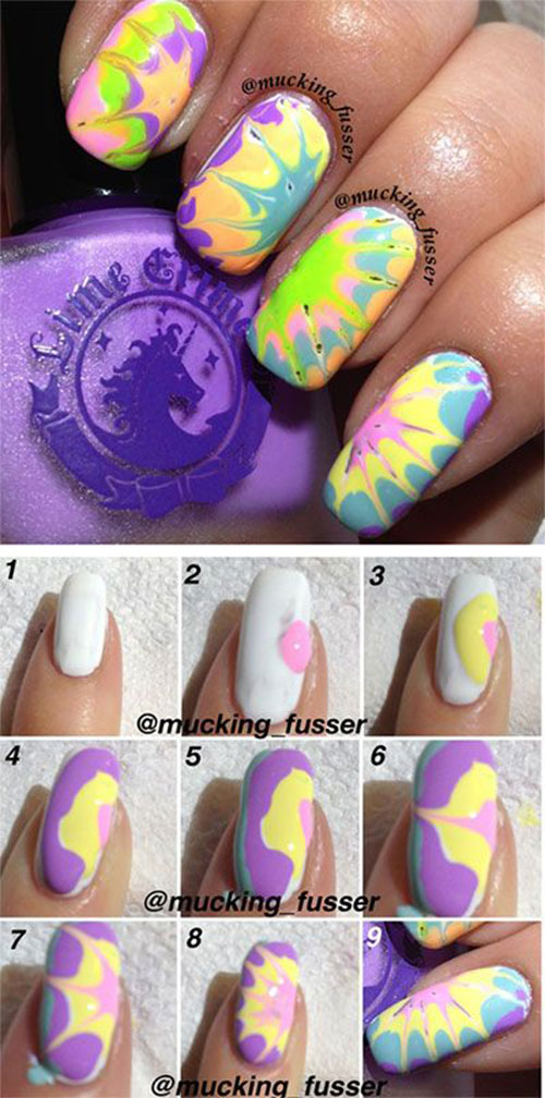Easy Step By Marble Nails Art Tutorials