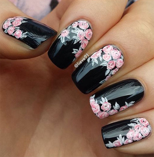 15-Spring-Black-Floral-Nails-Art-Designs-Ideas-2017-13