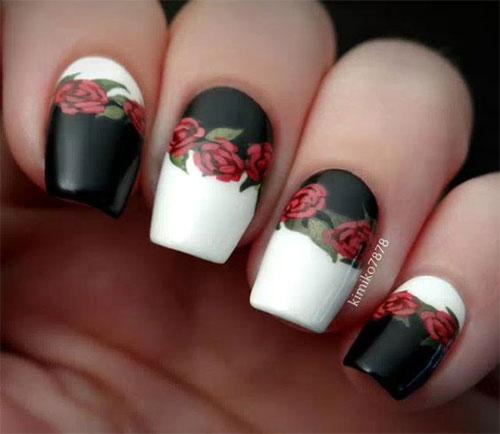 15-Spring-Black-Floral-Nails-Art-Designs-Ideas-2017-15