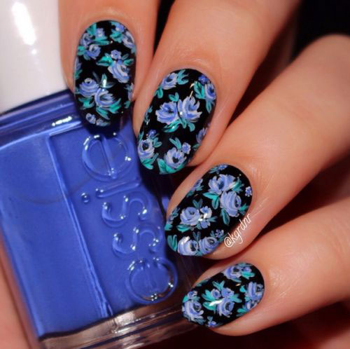 15-Spring-Black-Floral-Nails-Art-Designs-Ideas-2017-7