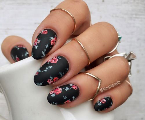 15-Spring-Black-Floral-Nails-Art-Designs-Ideas-2017-8