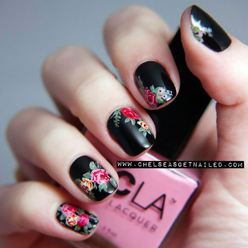 15-Spring-Black-Floral-Nails-Art-Designs-Ideas-2017-9