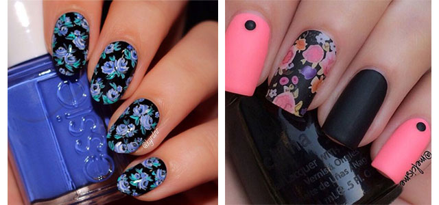 15-Spring-Black-Floral-Nails-Art-Designs-Ideas-2017-f