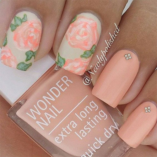 15-Vintage-Floral-Nail-Art-Designs-Ideas-2017- - 15 Vintage Floral Nail Art Designs & Ideas 2017 Spring Nails