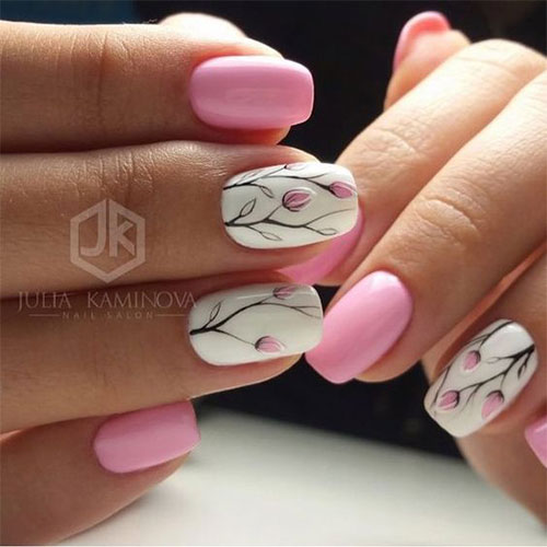 20-Simple-Easy-Spring-Nails-Art-Designs-Ideas- - 20 Simple & Easy Spring Nails Art Designs & Ideas 2017 Fabulous