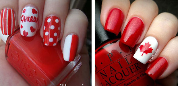 10 Canada Flag Nails Art Designs & Ideas 2017
