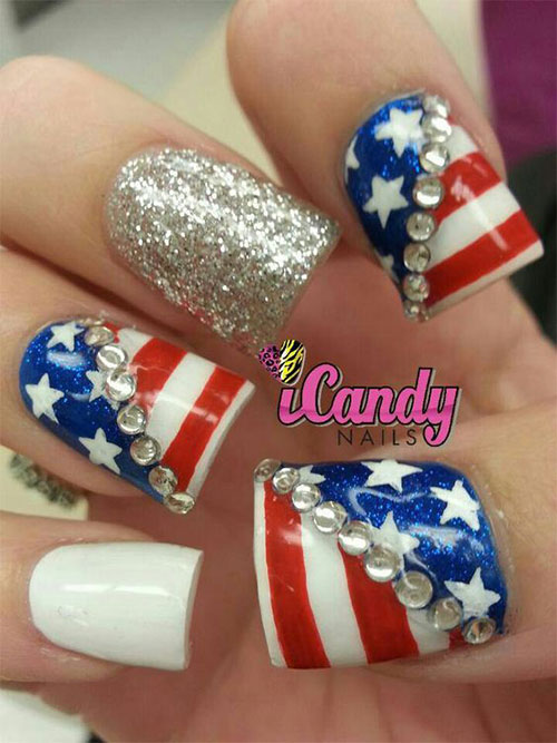 15-American-Flag-Nail-Art-Designs-Ideas-2017- - 15+ American Flag Nail Art Designs & Ideas 2017 4th Of July Nails