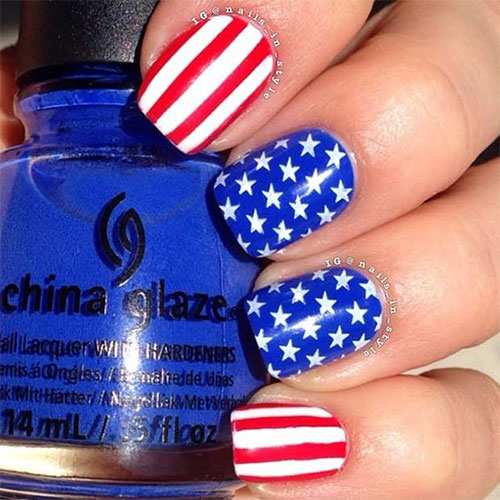 15 american flag nail art designs ideas 2017 4th of for 4th of july nail art decoration flag