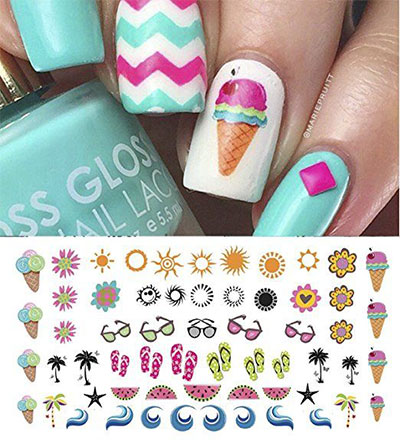 10 Summer Nails Art Decals Stickers 2017 2