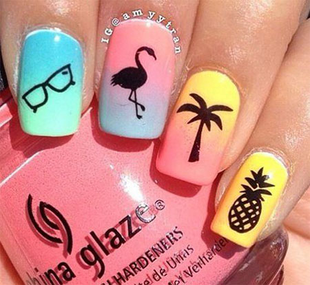 15 simple  easy summer nails art designs  ideas 2017