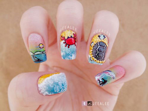 Art Designs: 15+ Summer Beach Nails Art Designs & Ideas 2017