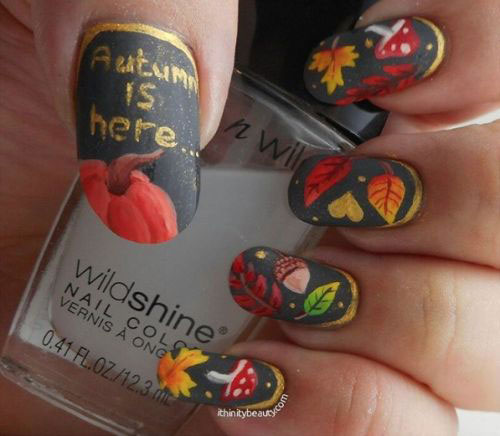 15 Autumn Leaf Nail Art Designs & Ideas 2017 / Fall Nails | Fabulous ...