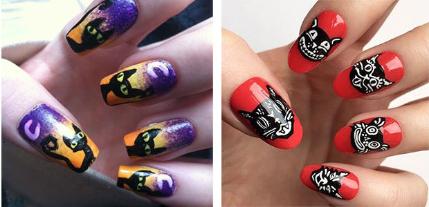 15+ Halloween Cat Nails Art Designs & Ideas 2017