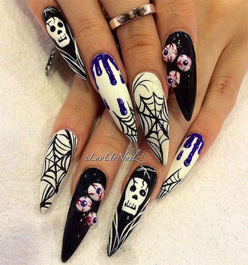 15-Halloween-Skull-Acrylic-Nails-Art-Designs-Ideas- - 15+ Halloween Skull Acrylic Nails Art Designs & Ideas 2017