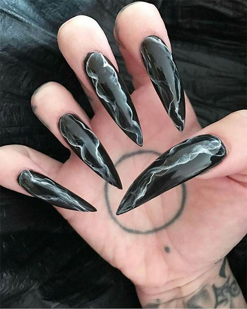 ECBASKET Press On Nails Black Glitter Witch Stiletto Fake Nails 24 PCS For Halloween Costume Nail Decorations Acrylic Halloween Teeth Almond Nails Pointed Nail Tips.