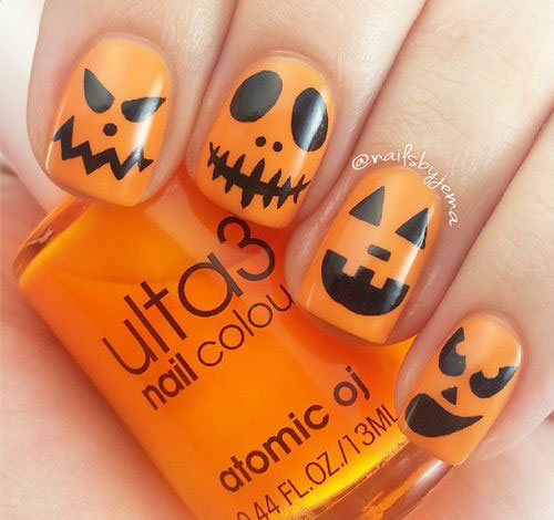 18 easy halloween pumpkin nails art designs ideas 2017 18 easy halloween pumpkin nails art designs ideas prinsesfo Choice Image